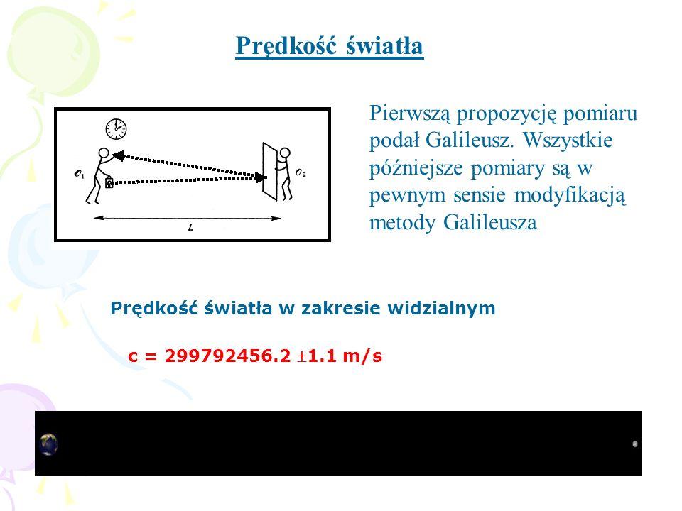Pierwszą propozycję pomiaru podał Galileusz. Wszystkie późniejsze pomiary są w pewnym sensie modyfikacją metody Galileusza Prędkość światła c = 299792