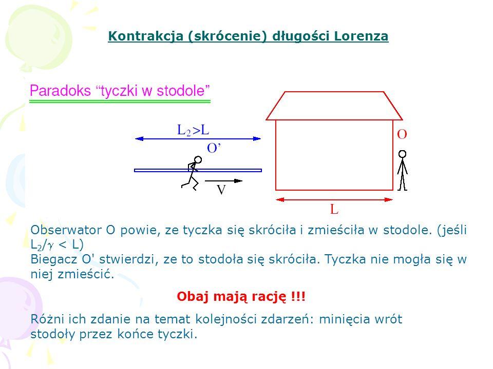 Kontrakcja (skrócenie) długości Lorenza Obserwator O powie, ze tyczka się skróciła i zmieściła w stodole. (jeśli L 2 / < L) Biegacz O' stwierdzi, ze t