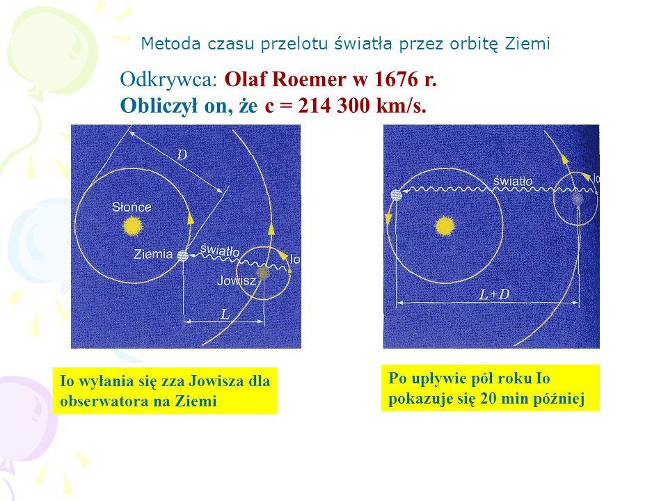 Metoda czasu przelotu światła przez orbitę Ziemi Io wyłania się zza Jowisza dla obserwatora na Ziemi Po upływie pół roku Io pokazuje się 20 min późnie