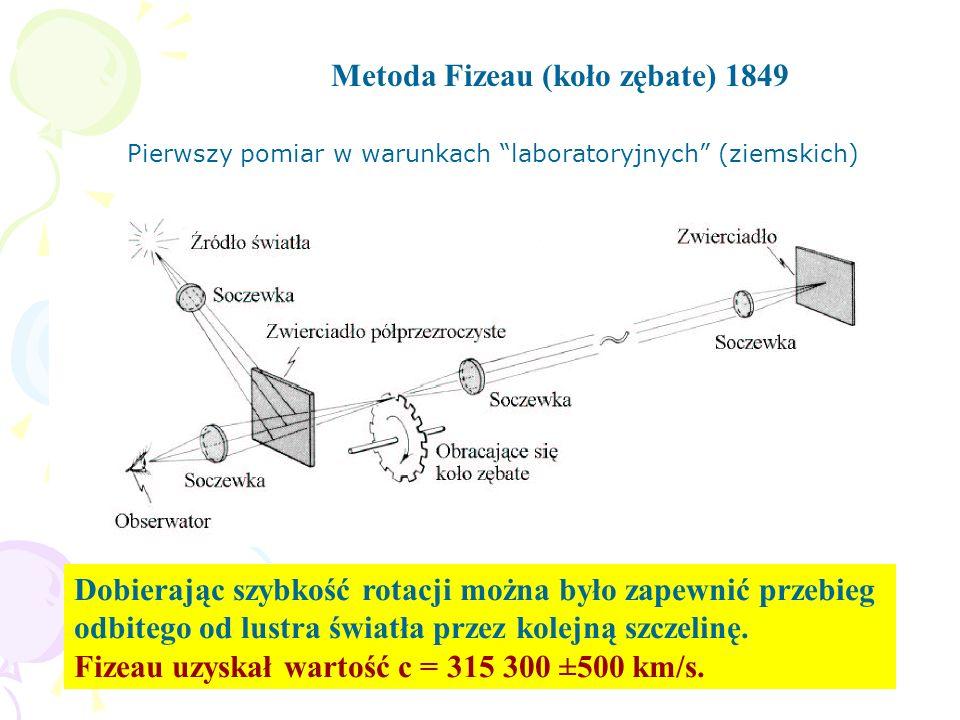 Metoda Fizeau (koło zębate) 1849 Dobierając szybkość rotacji można było zapewnić przebieg odbitego od lustra światła przez kolejną szczelinę. Fizeau u
