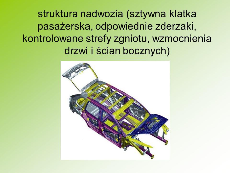 struktura nadwozia (sztywna klatka pasażerska, odpowiednie zderzaki, kontrolowane strefy zgniotu, wzmocnienia drzwi i ścian bocznych)