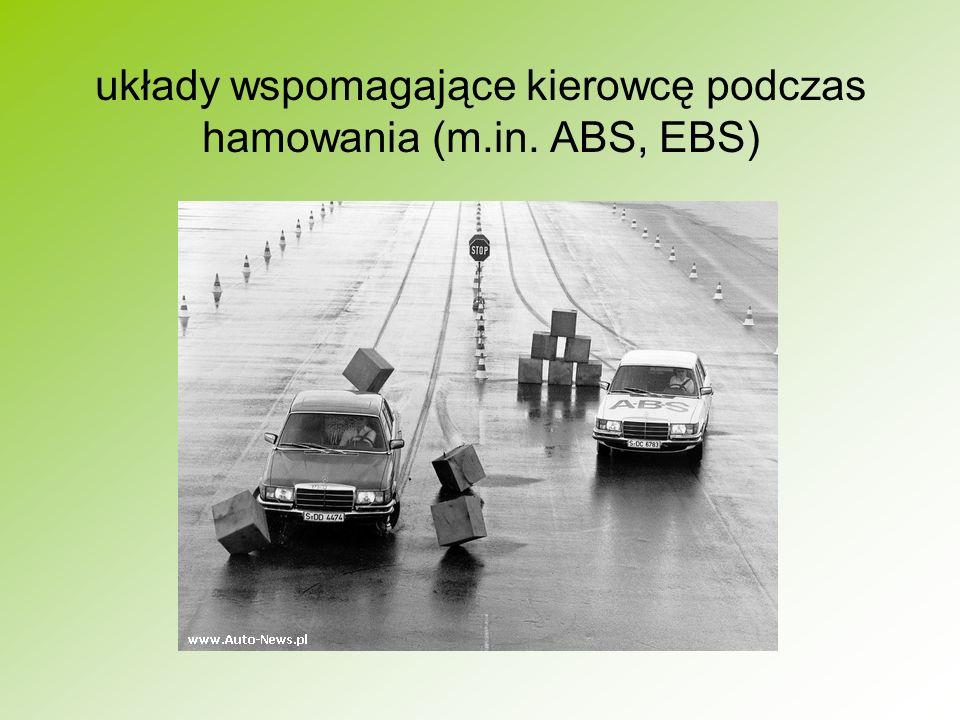 układy wspomagające kierowcę podczas hamowania (m.in. ABS, EBS)
