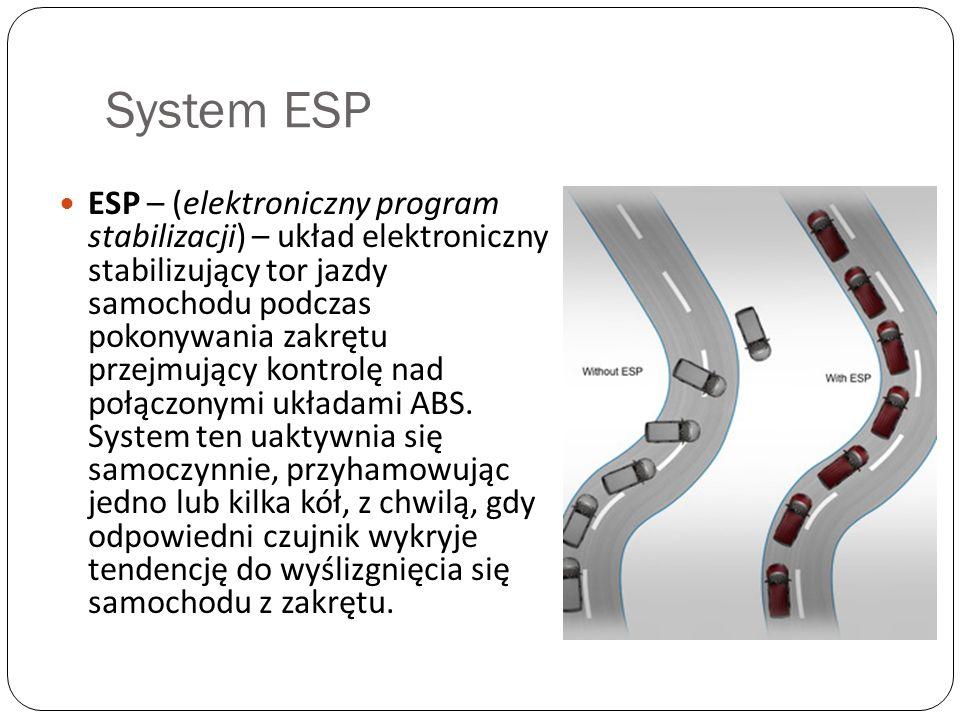 System ESP ESP – (elektroniczny program stabilizacji) – układ elektroniczny stabilizujący tor jazdy samochodu podczas pokonywania zakrętu przejmujący