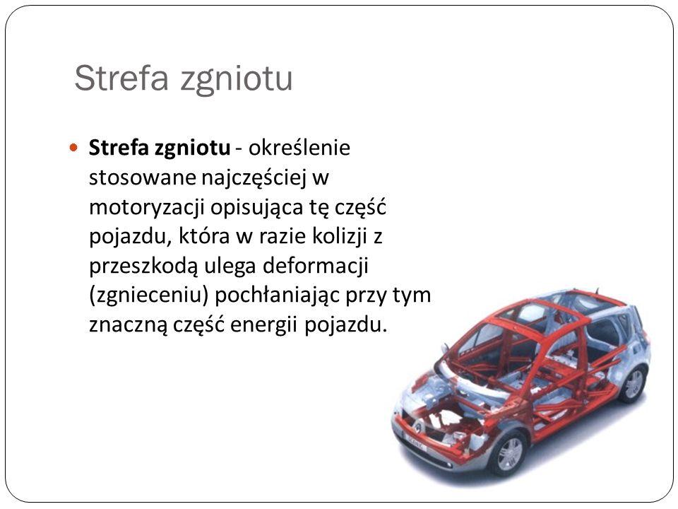 Strefa zgniotu Strefa zgniotu - określenie stosowane najczęściej w motoryzacji opisująca tę część pojazdu, która w razie kolizji z przeszkodą ulega de