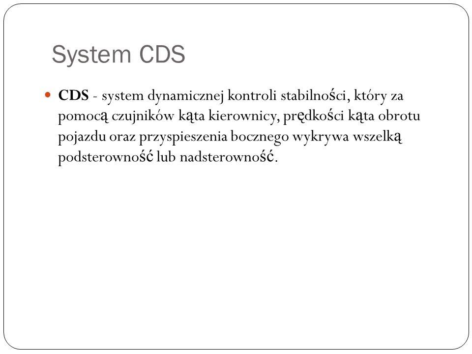 System CDS CDS - system dynamicznej kontroli stabilno ś ci, który za pomoc ą czujników k ą ta kierownicy, pr ę dko ś ci k ą ta obrotu pojazdu oraz prz