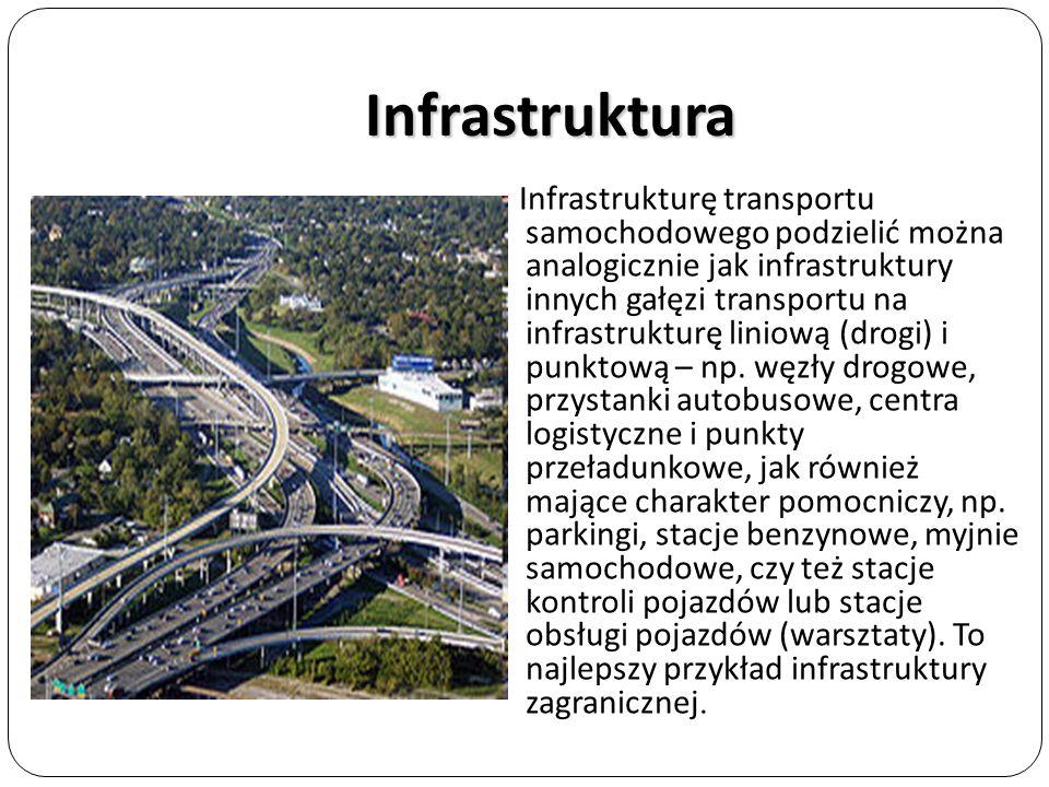 Infrastruktura Infrastrukturę transportu samochodowego podzielić można analogicznie jak infrastruktury innych gałęzi transportu na infrastrukturę lini