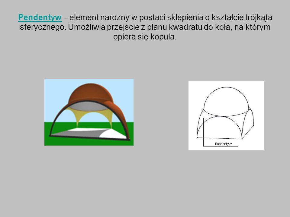 PendentywPendentyw – element narożny w postaci sklepienia o kształcie trójkąta sferycznego. Umożliwia przejście z planu kwadratu do koła, na którym op