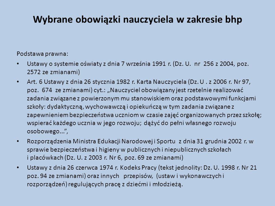 Wybrane obowiązki nauczyciela w zakresie bhp Podstawa prawna: Ustawy o systemie oświaty z dnia 7 września 1991 r.