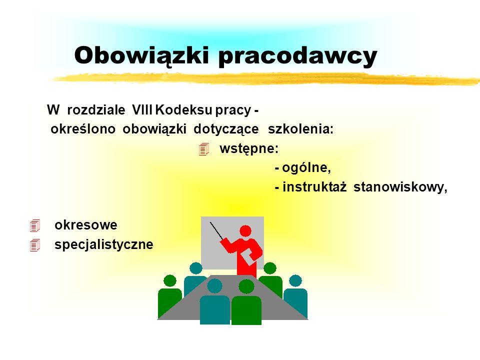 Obowiązki pracodawcy W rozdziale VII określono obowiązki dotyczące wypadków przy pracy i chorób zawodowych: - wypadki przy pracy i dokumentowanie, - w