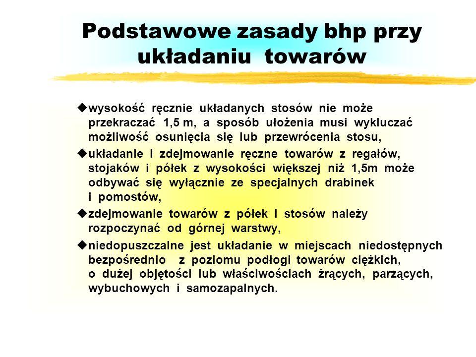 Podstawowe zasady bhp w transporcie uprzed użyciem sprawdzić stan techniczny, uużywać sprawnego technicznie sprzętu, unie przeładowywać środków transp