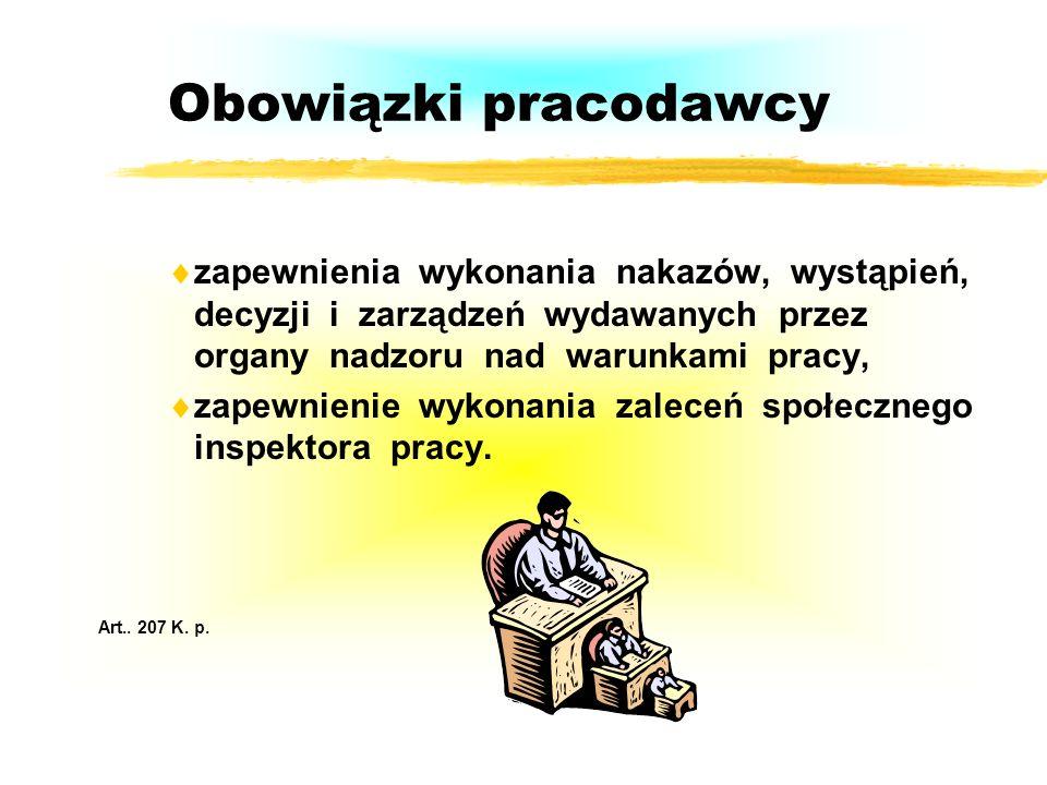 Obowiązki pracodawcy zapewnienia wykonania nakazów, wystąpień, decyzji i zarządzeń wydawanych przez organy nadzoru nad warunkami pracy, zapewnienie wykonania zaleceń społecznego inspektora pracy.