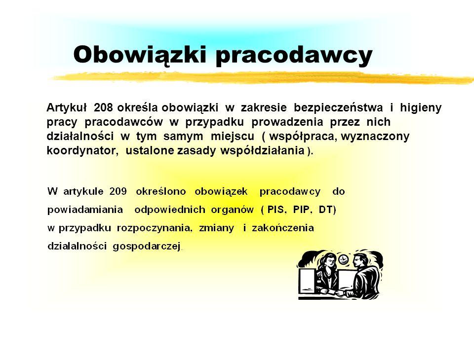 Obowiązki pracodawcy Artykuł 208 określa obowiązki w zakresie bezpieczeństwa i higieny pracy pracodawców w przypadku prowadzenia przez nich działalności w tym samym miejscu ( współpraca, wyznaczony koordynator, ustalone zasady współdziałania ).