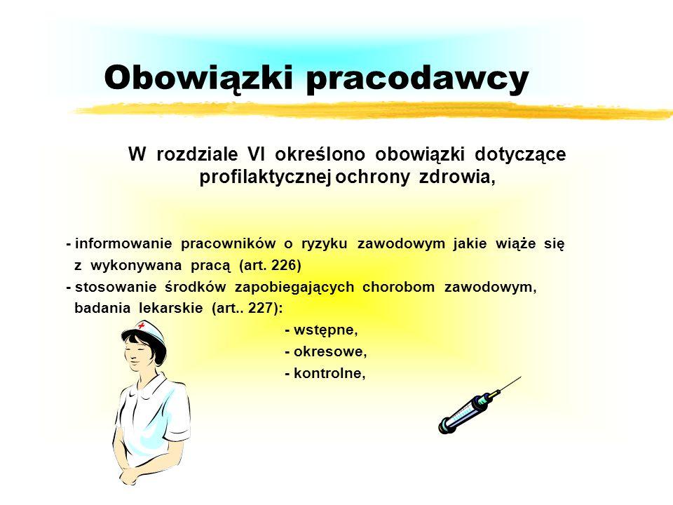 Obowiązki pracodawcy W rozdziale VI określono obowiązki dotyczące profilaktycznej ochrony zdrowia, - informowanie pracowników o ryzyku zawodowym jakie wiąże się z wykonywana pracą (art.