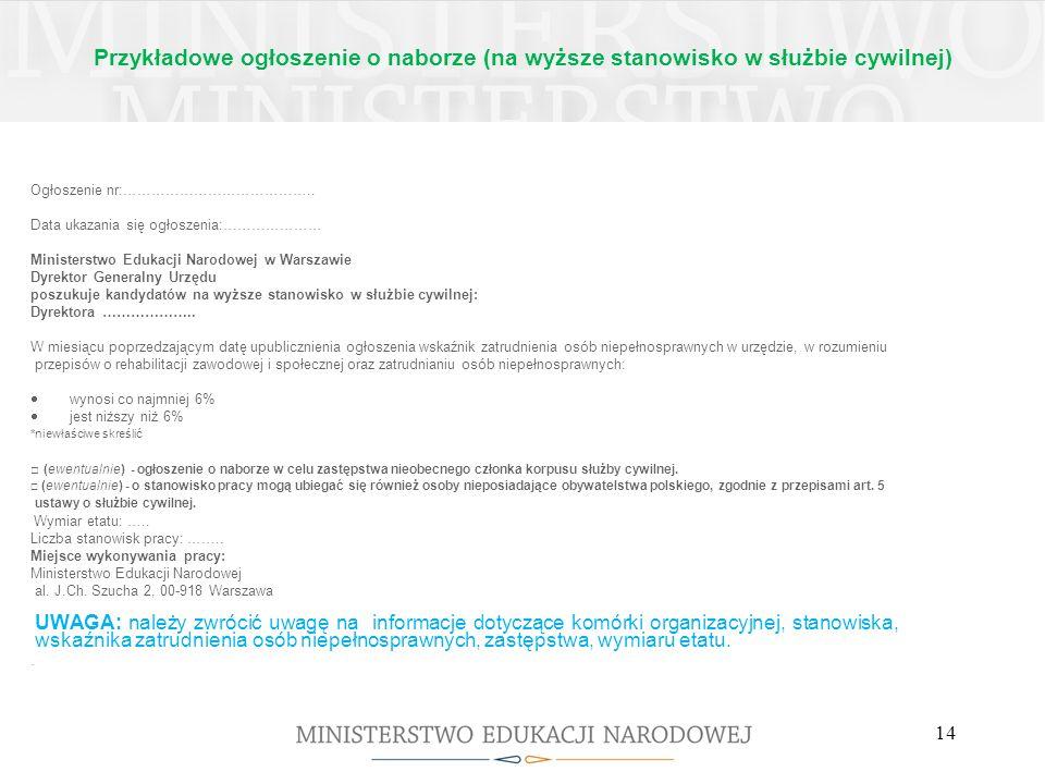 Przykładowe ogłoszenie o naborze (na wyższe stanowisko w służbie cywilnej) Ogłoszenie nr:………………………………….. Data ukazania się ogłoszenia:………………… Minister