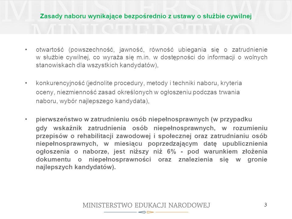Zasady naboru wynikające bezpośrednio z ustawy o służbie cywilnej otwartość (powszechność, jawność, równość ubiegania się o zatrudnienie w służbie cyw