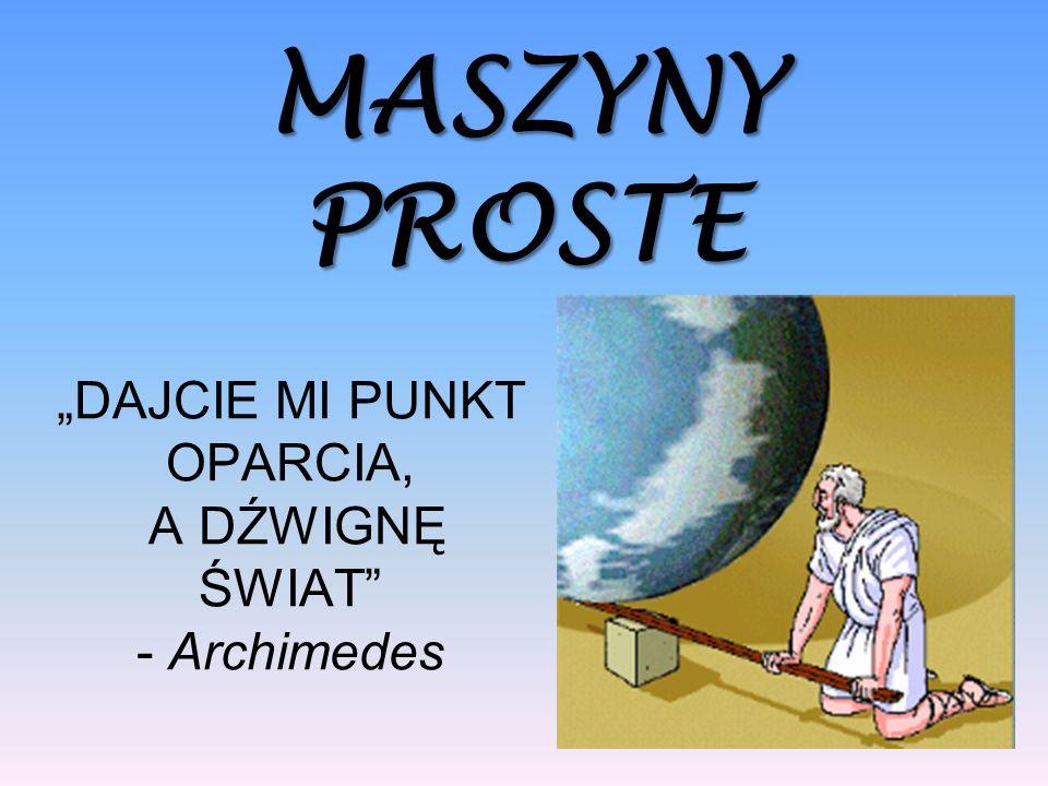 DAJCIE MI PUNKT OPARCIA, A DŹWIGNĘ ŚWIAT - Archimedes MASZYNYPROSTE