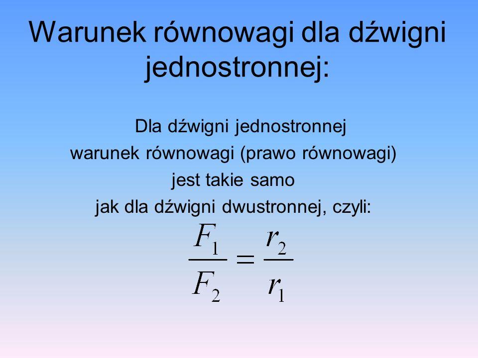 Warunek równowagi dla dźwigni jednostronnej: Dla dźwigni jednostronnej warunek równowagi (prawo równowagi) jest takie samo jak dla dźwigni dwustronnej, czyli: