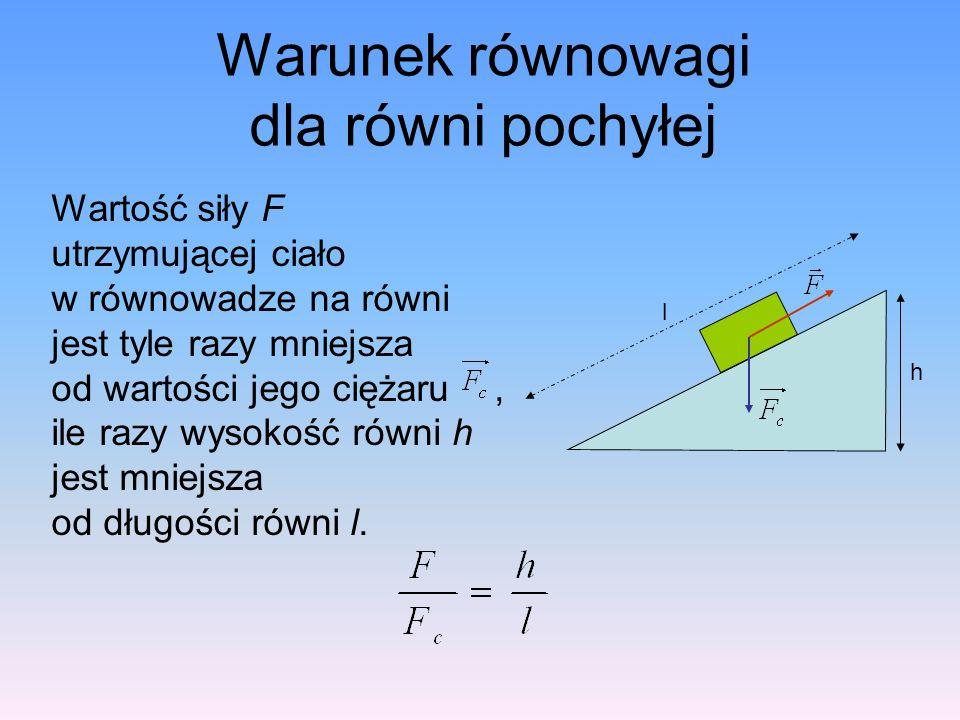 Warunek równowagi dla równi pochyłej h l Wartość siły F utrzymującej ciało w równowadze na równi jest tyle razy mniejsza od wartości jego ciężaru, ile razy wysokość równi h jest mniejsza od długości równi l.