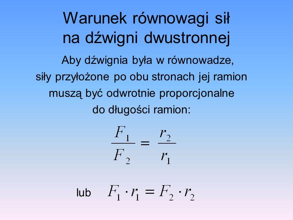 Warunek równowagi sił na dźwigni dwustronnej Aby dźwignia była w równowadze, siły przyłożone po obu stronach jej ramion muszą być odwrotnie proporcjonalne do długości ramion: lub