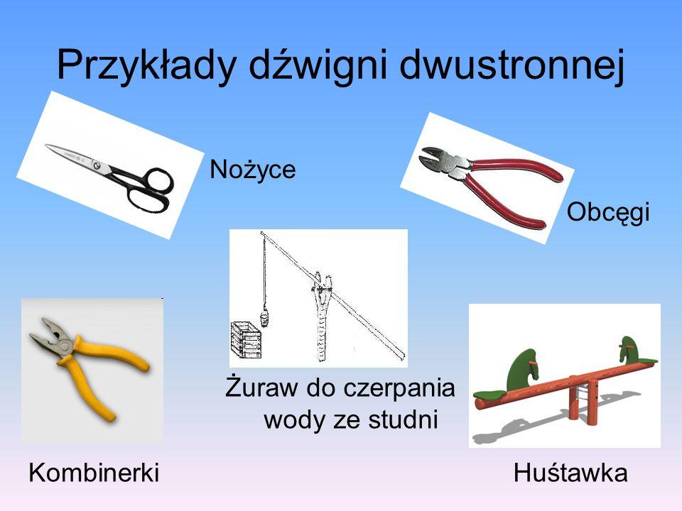 Przykłady dźwigni dwustronnej Nożyce Kombinerki Obcęgi Żuraw do czerpania wody ze studni Huśtawka
