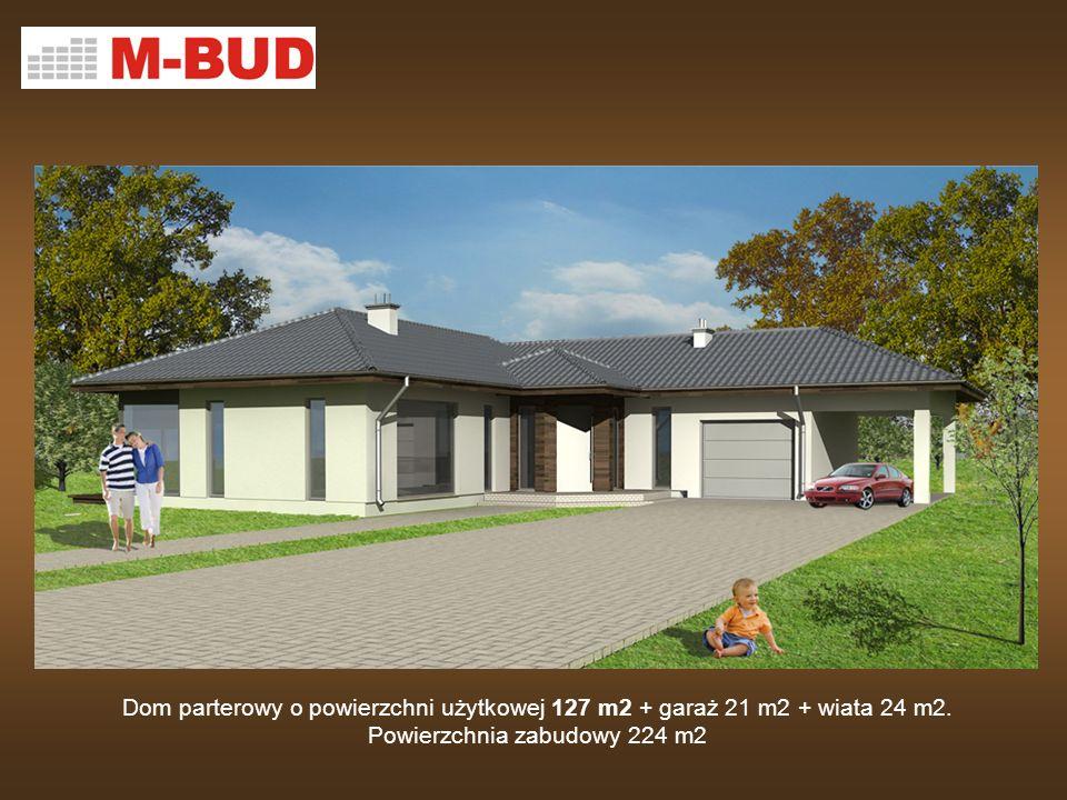 Dom parterowy o powierzchni użytkowej 127 m2 + garaż 21 m2 + wiata 24 m2. Powierzchnia zabudowy 224 m2