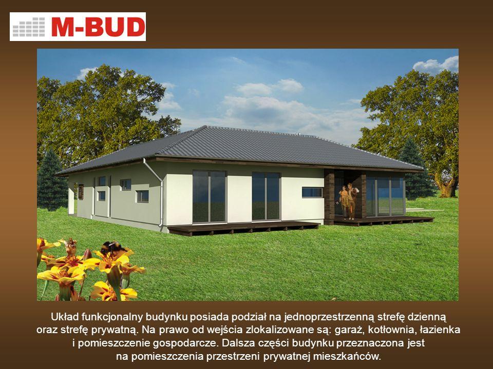Układ funkcjonalny budynku posiada podział na jednoprzestrzenną strefę dzienną oraz strefę prywatną. Na prawo od wejścia zlokalizowane są: garaż, kotł