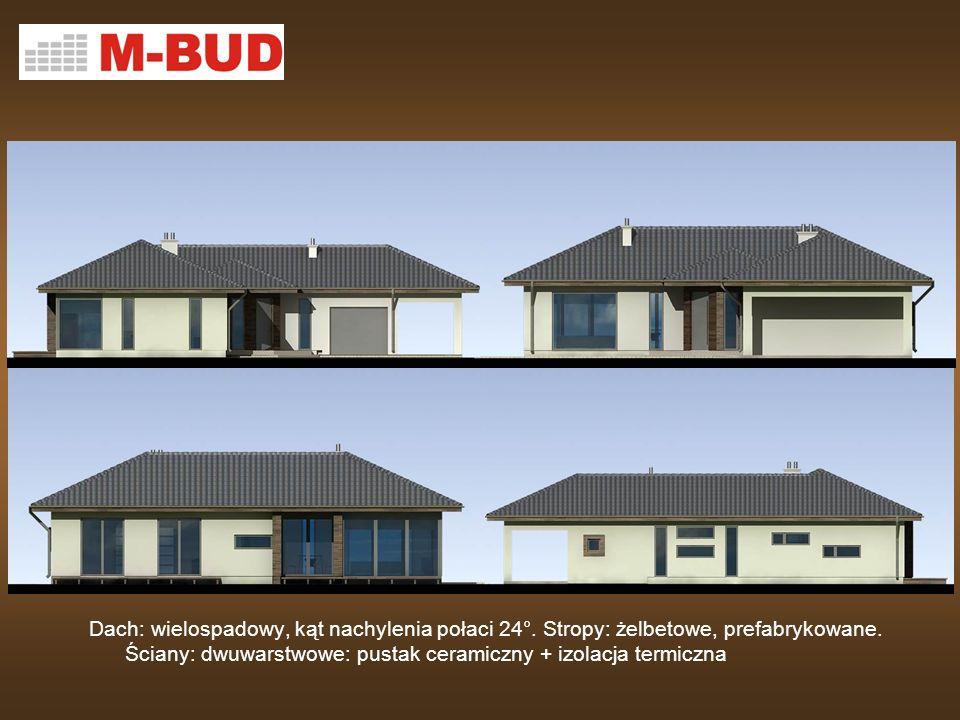 Dach: wielospadowy, kąt nachylenia połaci 24°. Stropy: żelbetowe, prefabrykowane. Ściany: dwuwarstwowe: pustak ceramiczny + izolacja termiczna