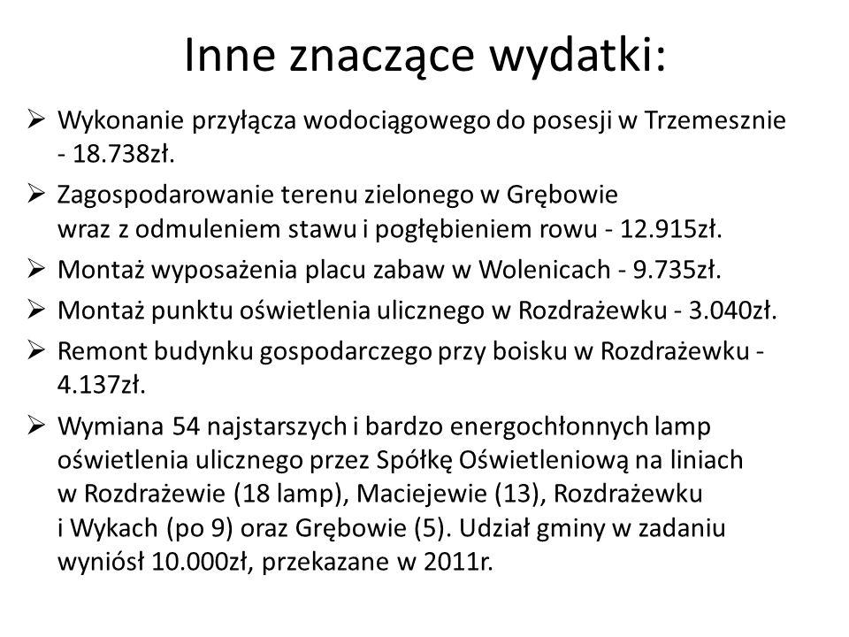 Inne znaczące wydatki: Wykonanie przyłącza wodociągowego do posesji w Trzemesznie - 18.738zł. Zagospodarowanie terenu zielonego w Grębowie wraz z odmu