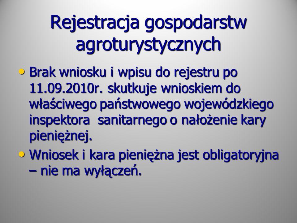 Rejestracja gospodarstw agroturystycznych Brak wniosku i wpisu do rejestru po 11.09.2010r. skutkuje wnioskiem do właściwego państwowego wojewódzkiego
