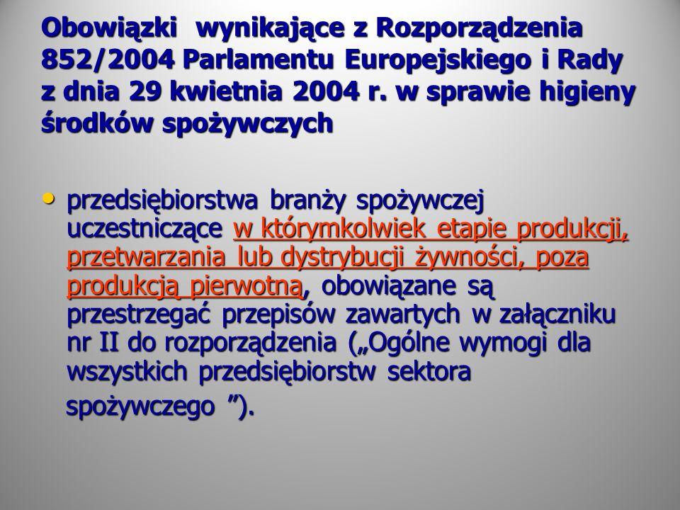 Obowiązki wynikające z Rozporządzenia 852/2004 Parlamentu Europejskiego i Rady z dnia 29 kwietnia 2004 r. w sprawie higieny środków spożywczych przeds