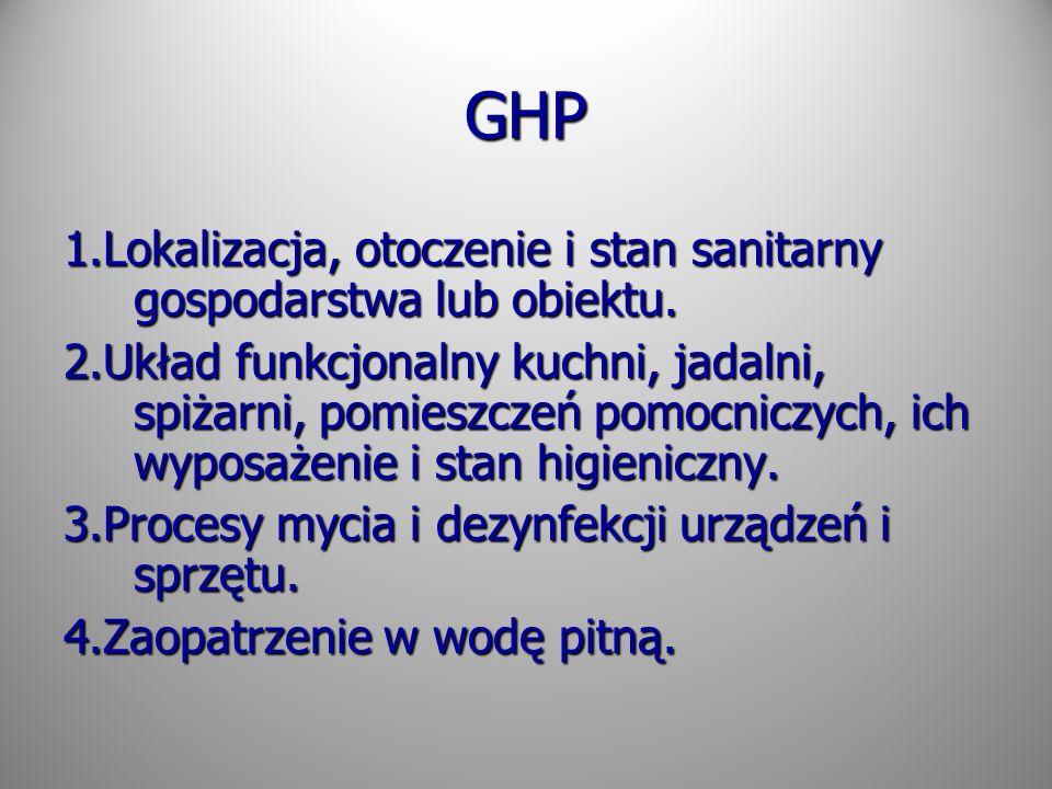 GHP 1.Lokalizacja, otoczenie i stan sanitarny gospodarstwa lub obiektu. 2.Układ funkcjonalny kuchni, jadalni, spiżarni, pomieszczeń pomocniczych, ich