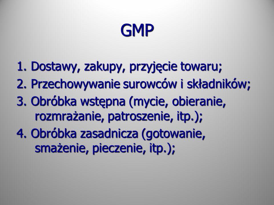 GMP 1. Dostawy, zakupy, przyjęcie towaru; 2. Przechowywanie surowców i składników; 3. Obróbka wstępna (mycie, obieranie, rozmrażanie, patroszenie, itp