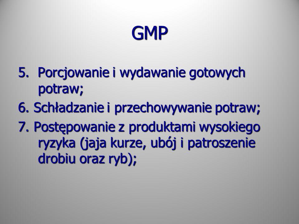GMP 5. Porcjowanie i wydawanie gotowych potraw; 6. Schładzanie i przechowywanie potraw; 7. Postępowanie z produktami wysokiego ryzyka (jaja kurze, ubó