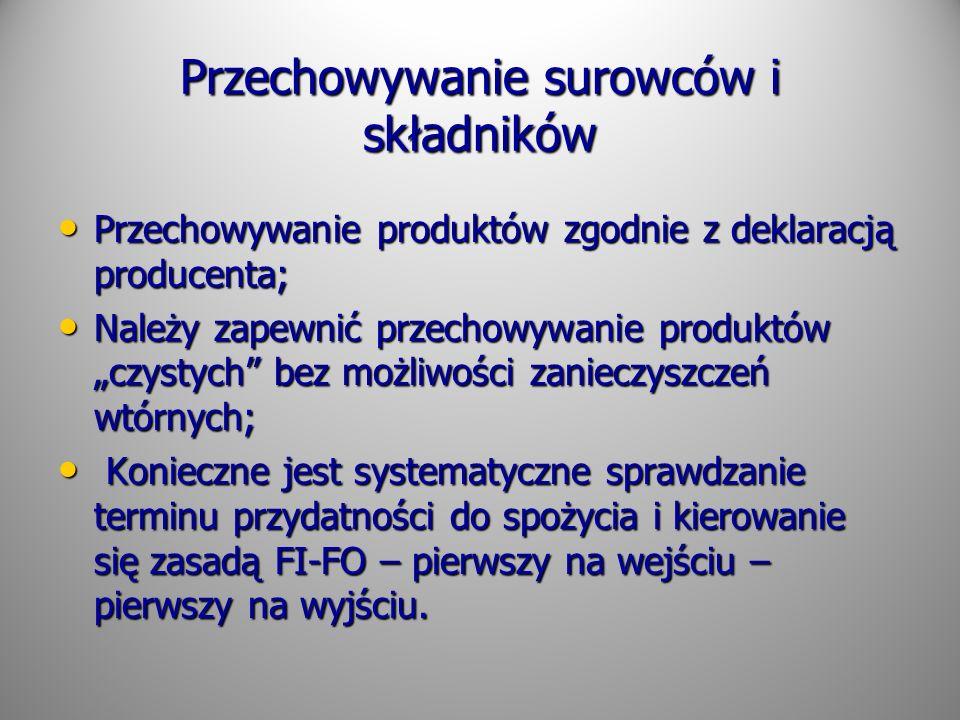 Przechowywanie surowców i składników Przechowywanie produktów zgodnie z deklaracją producenta; Przechowywanie produktów zgodnie z deklaracją producent