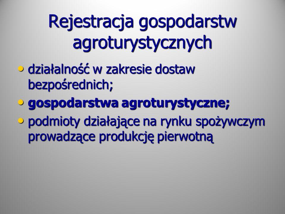 Rejestracja gospodarstw agroturystycznych działalność w zakresie dostaw bezpośrednich; działalność w zakresie dostaw bezpośrednich; gospodarstwa agrot