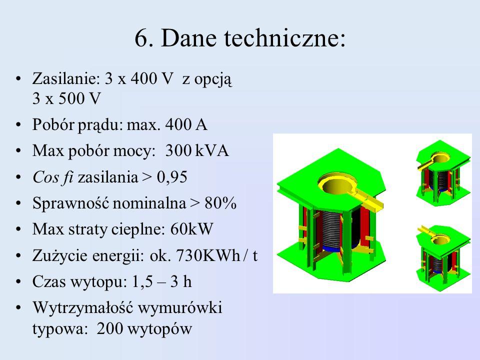 6. Dane techniczne: Zasilanie: 3 x 400 V z opcją 3 x 500 V Pobór prądu: max. 400 A Max pobór mocy: 300 kVA Cos fi zasilania > 0,95 Sprawność nominalna