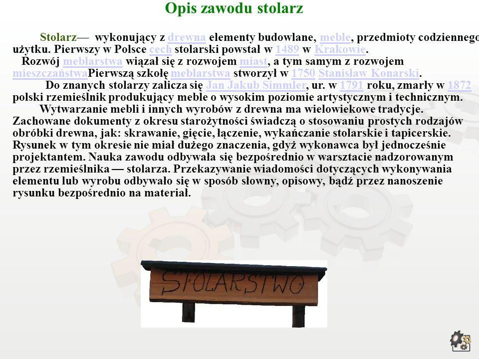 Opis zawodu stolarz Stolarz wykonujący z drewna elementy budowlane, meble, przedmioty codziennego użytku.