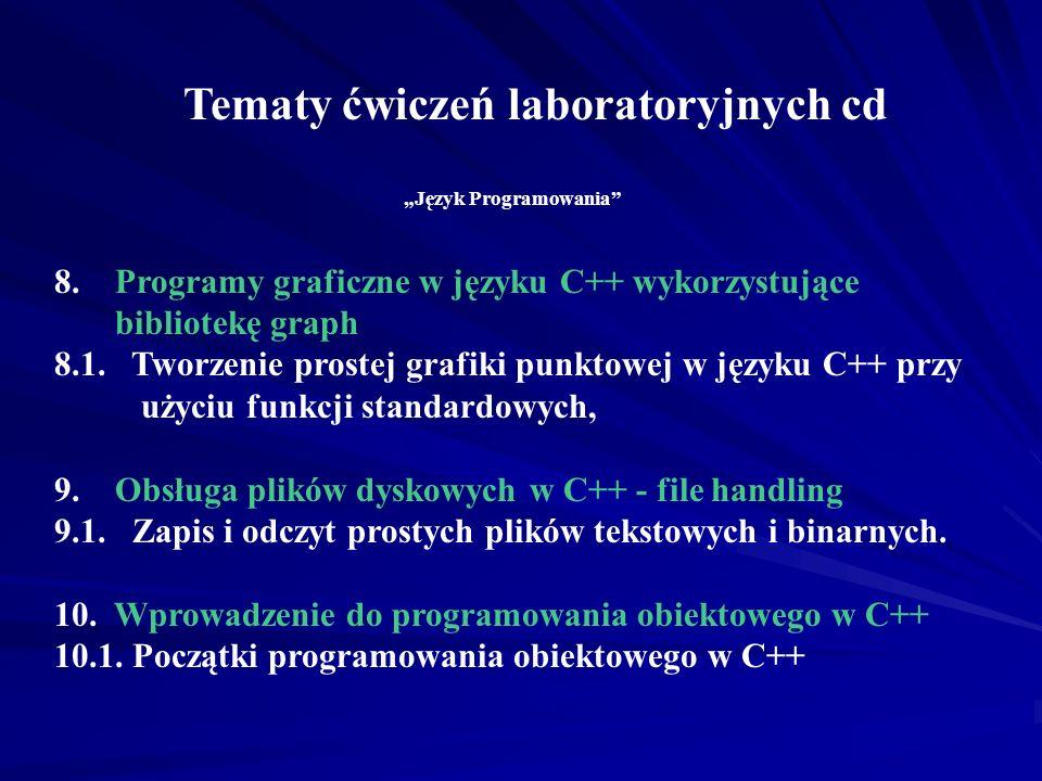 Tematy ćwiczeń laboratoryjnych cd Język Programowania 6.Konstruowanie funkcji w języku C++ 6.1. Programowanie własnych funkcji w języku C++, 6.2. Wyko