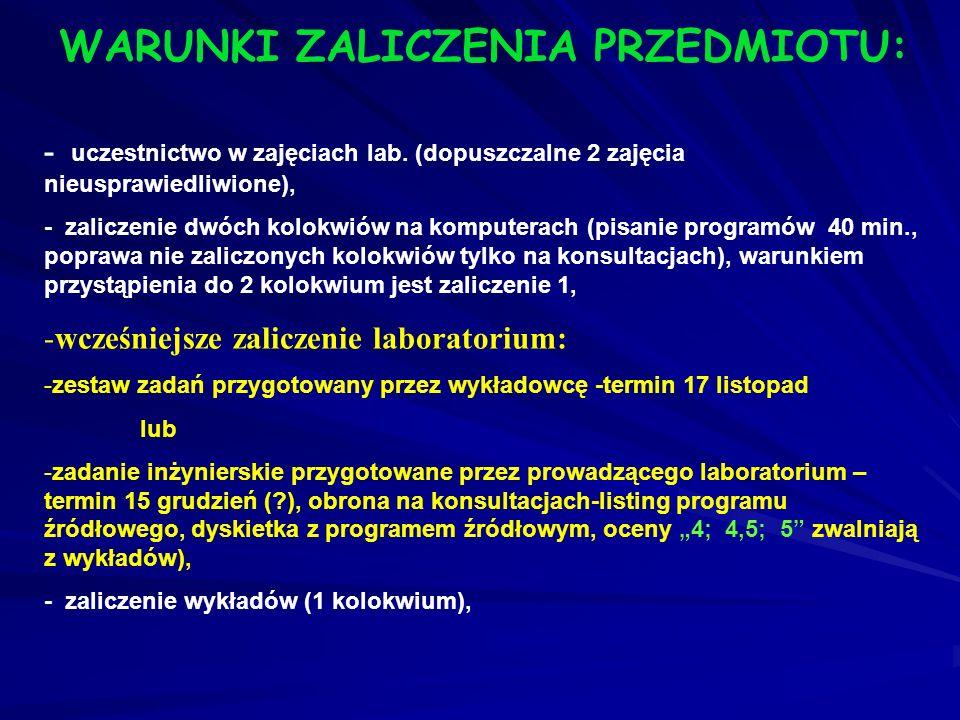 Cd Zakres tematyczny wykładu obejmuje: 3. Podstawy programowania w języku C++ (struktura programu, typy danych, deklaracje zmiennych i stałych, operat