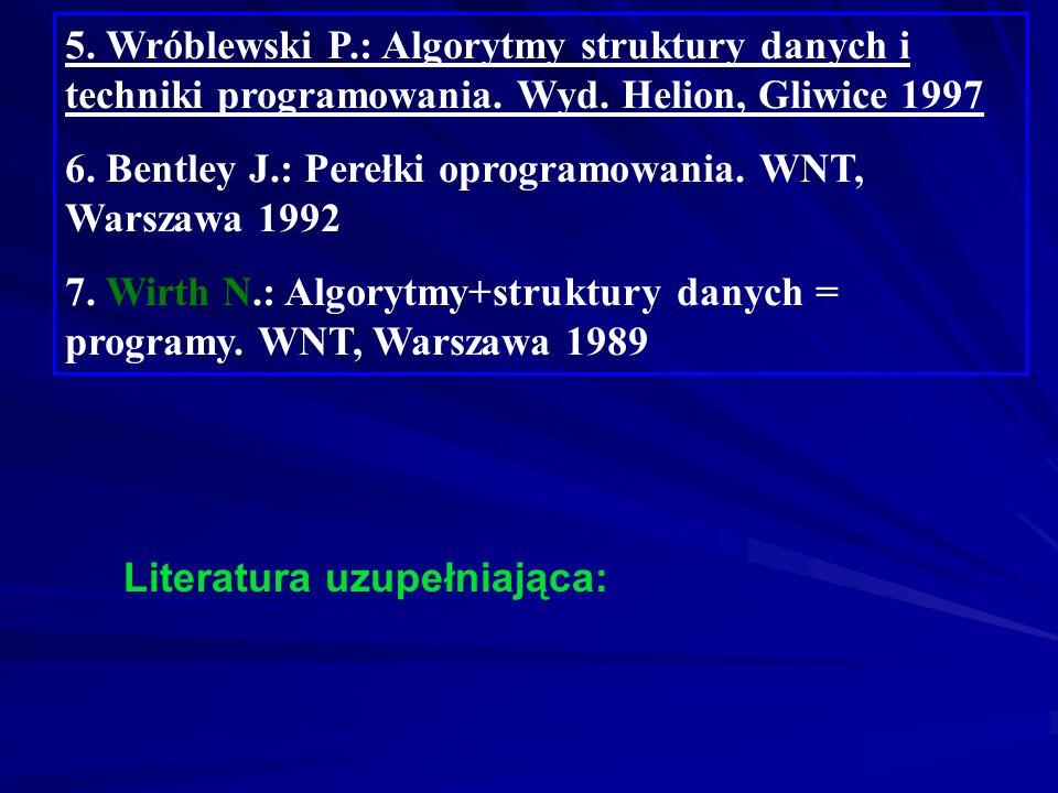 1. Struzińska-Walczak A., Walczak K.: Nauka programowania dla początkujących C++. Wyd. W&W, Warszawa 2000 2. Zalewski A.: Programowanie w językach C i