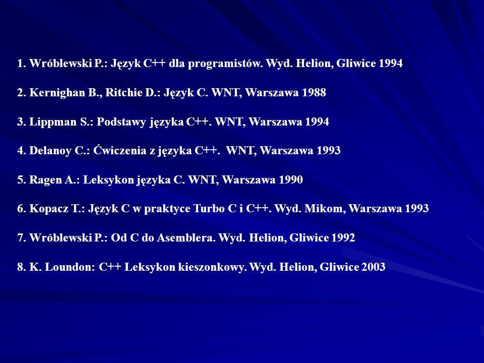 5. Wróblewski P.: Algorytmy struktury danych i techniki programowania. Wyd. Helion, Gliwice 1997 6. Bentley J.: Perełki oprogramowania. WNT, Warszawa