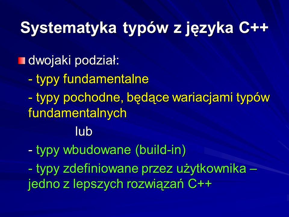 1. Typy proste (skalary) - arytmetyczne (całkowite i rzeczywiste) - wskaźnikowe - referencyjne Typy danych w C++ 2. Typy strukturalne (złożone) - tabl