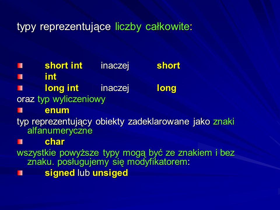 Systematyka typów z języka C++ dwojaki podział: - typy fundamentalne - typy pochodne, będące wariacjami typów fundamentalnych lub - typy wbudowane (bu