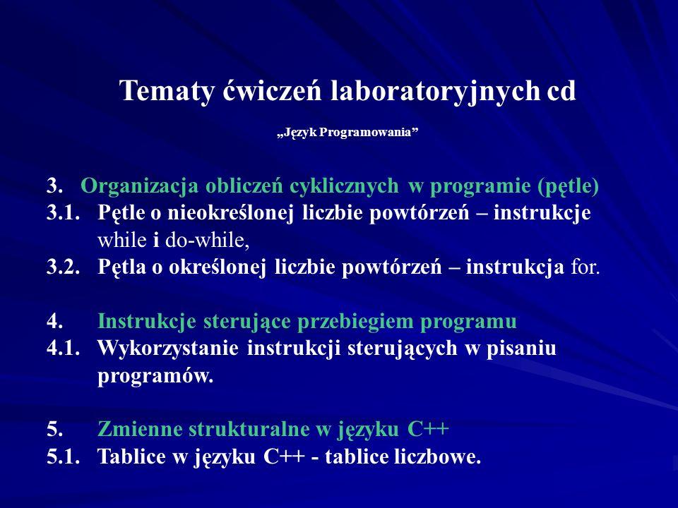 Tematy ćwiczeń laboratoryjnych Język Programowania 1.Ogólna struktura i podstawowe elementy programu źródłowego w C++ - program sekwencyjny 1.1. Obsłu