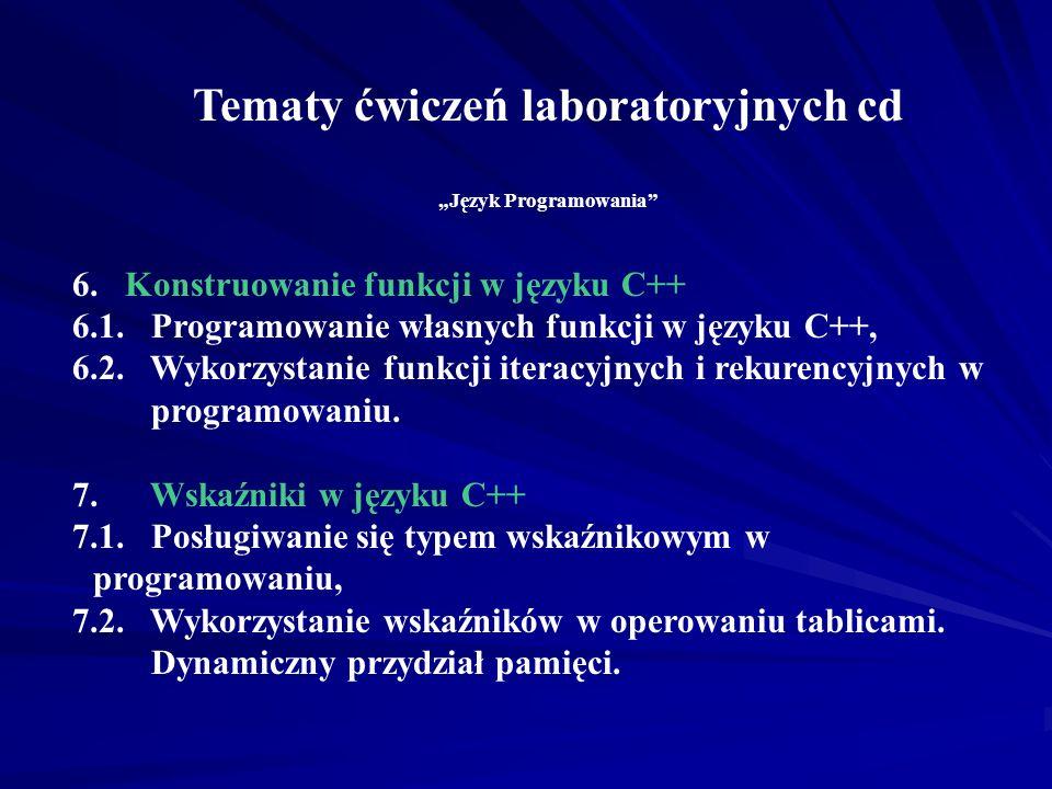 Tematy ćwiczeń laboratoryjnych cd Język Programowania 6.Konstruowanie funkcji w języku C++ 6.1.