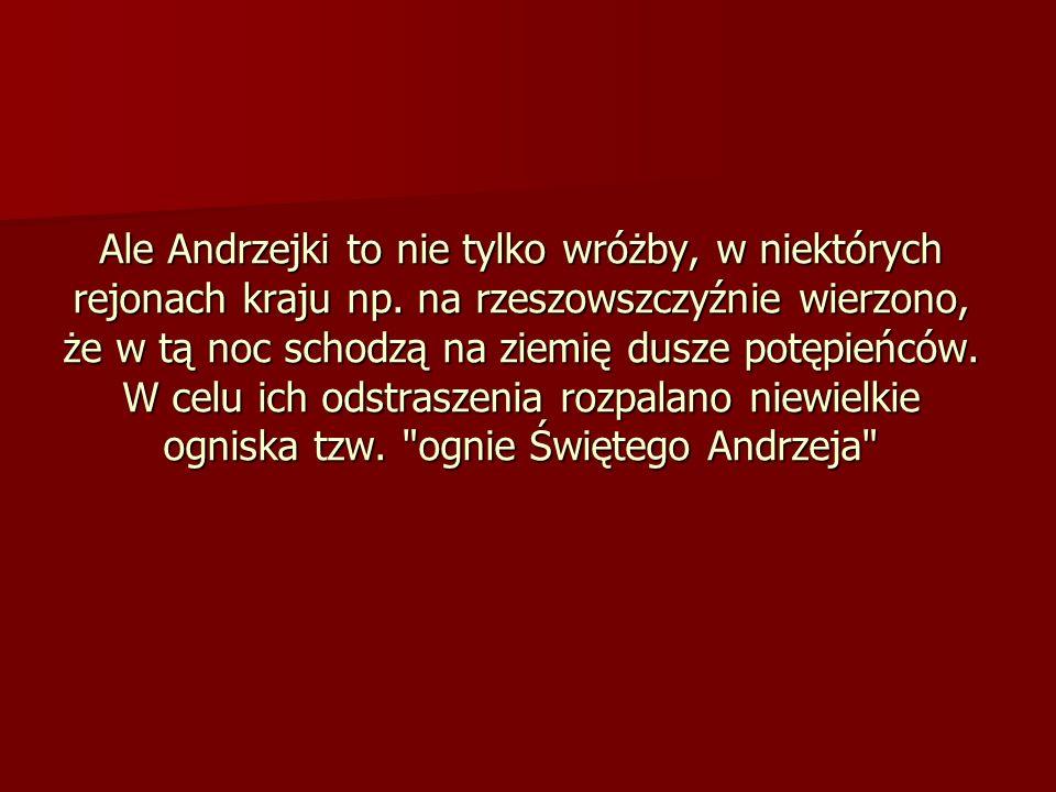 Ale Andrzejki to nie tylko wróżby, w niektórych rejonach kraju np. na rzeszowszczyźnie wierzono, że w tą noc schodzą na ziemię dusze potępieńców. W ce