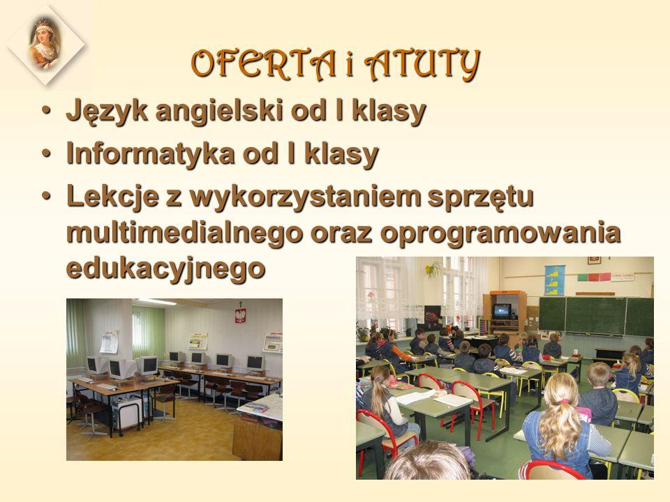 OFERTA i ATUTY Język angielski od I klasyJęzyk angielski od I klasy Informatyka od I klasyInformatyka od I klasy Lekcje z wykorzystaniem sprzętu multimedialnego oraz oprogramowania edukacyjnegoLekcje z wykorzystaniem sprzętu multimedialnego oraz oprogramowania edukacyjnego