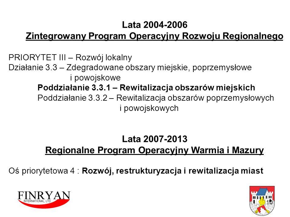10 Lata 2004-2006 Zintegrowany Program Operacyjny Rozwoju Regionalnego PRIORYTET III – Rozwój lokalny Działanie 3.3 – Zdegradowane obszary miejskie, p
