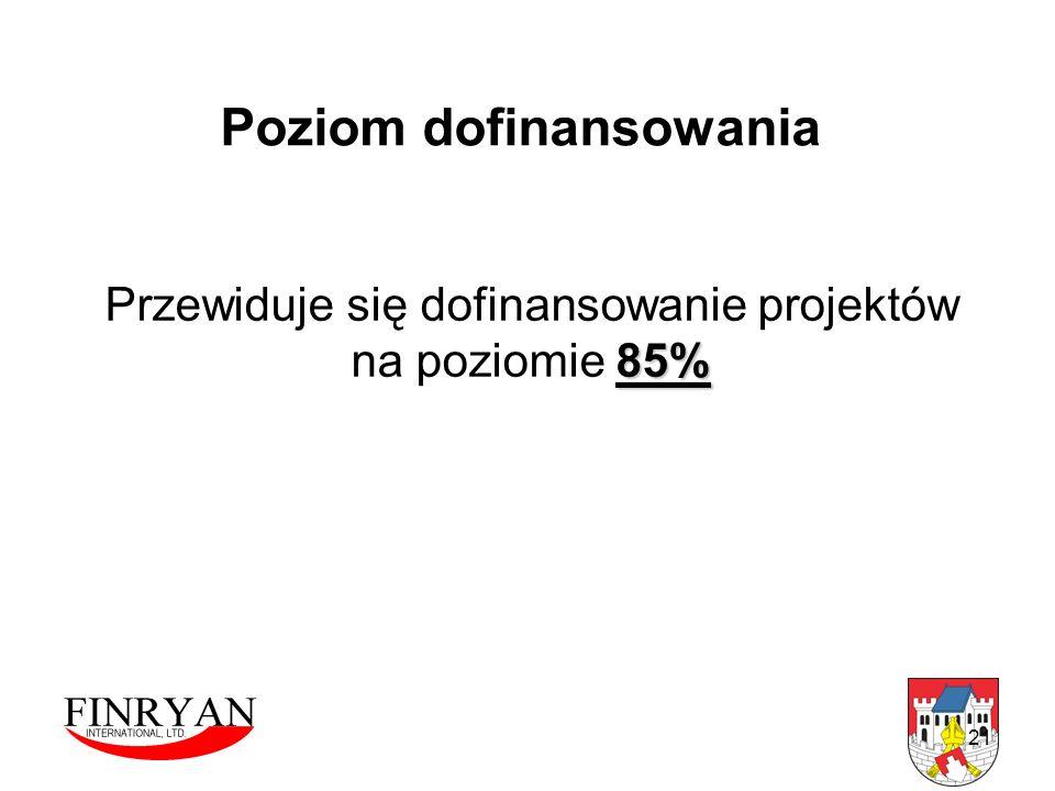 21 Poziom dofinansowania Przewiduje się dofinansowanie projektów 85% na poziomie 85%