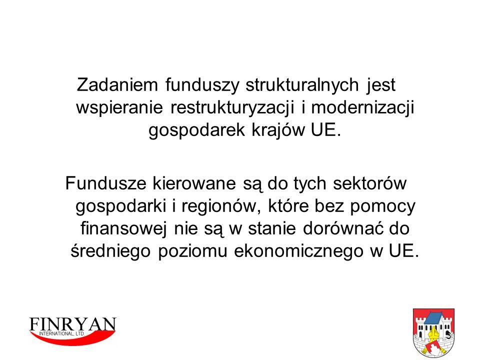 3 Zadaniem funduszy strukturalnych jest wspieranie restrukturyzacji i modernizacji gospodarek krajów UE. Fundusze kierowane są do tych sektorów gospod